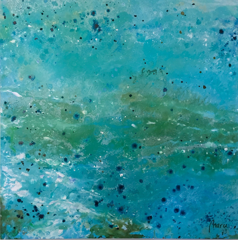 SOLD Green and turquoise - acrylic on canvas - 100x100cm